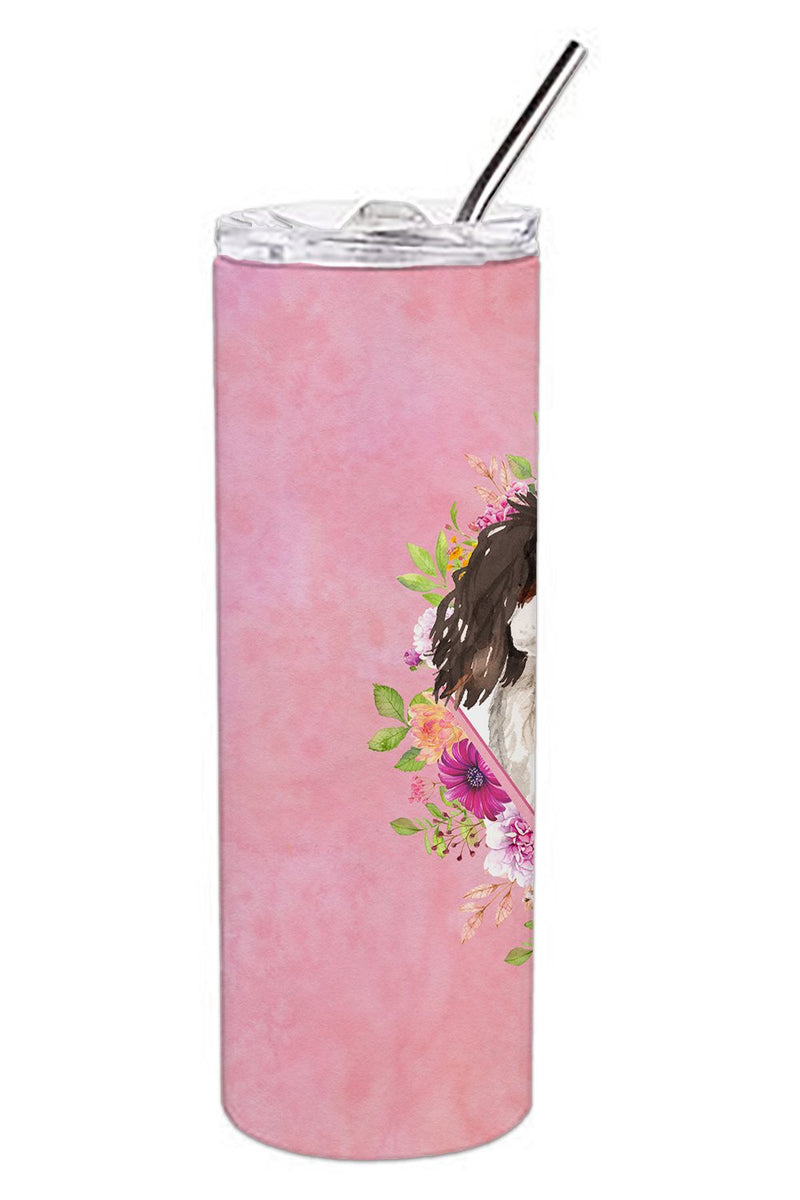 Buy this Tricolor Cavalier Spaniel Pink Flowers Double Walled Stainless Steel 20 oz Skinny Tumbler CK4206TBL20