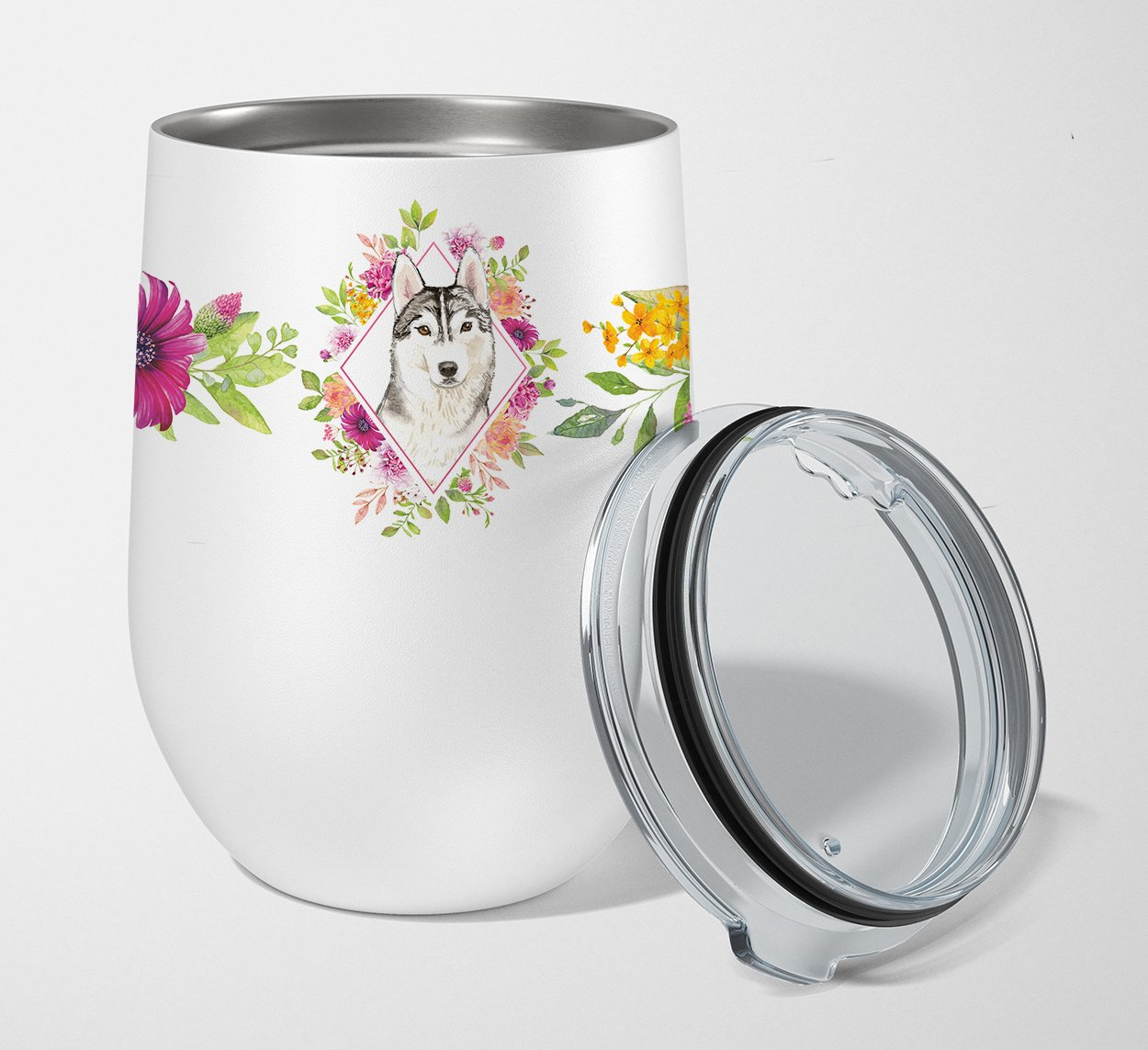 Siberian Husky Pink Flowers Stainless Steel 12 oz Stemless Wine Glass CK4210TBL12 by Caroline's Treasures