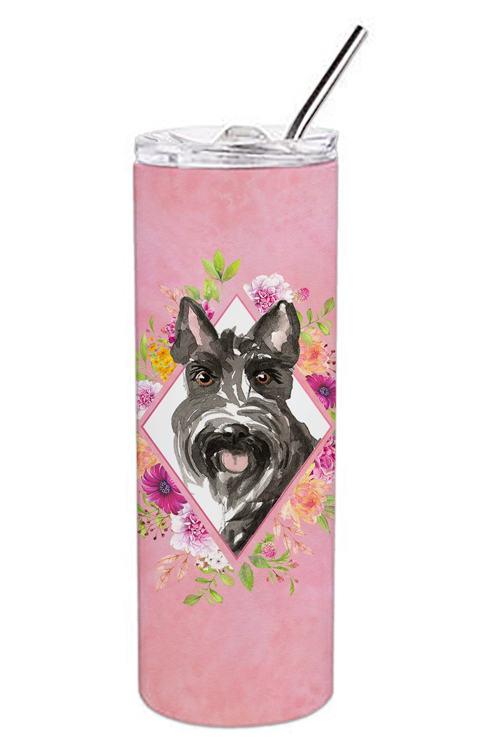 Scottish Terrier Pink Flowers Double Walled Stainless Steel 20 oz Skinny Tumbler CK4214TBL20 by Caroline's Treasures