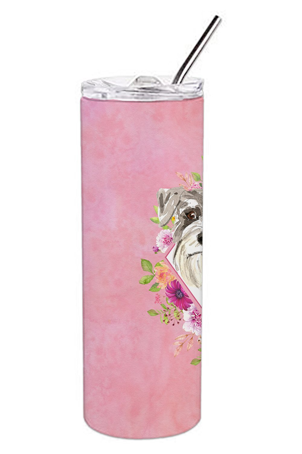 Schnauzer #1 Pink Flowers Double Walled Stainless Steel 20 oz Skinny Tumbler CK4215TBL20 by Caroline's Treasures