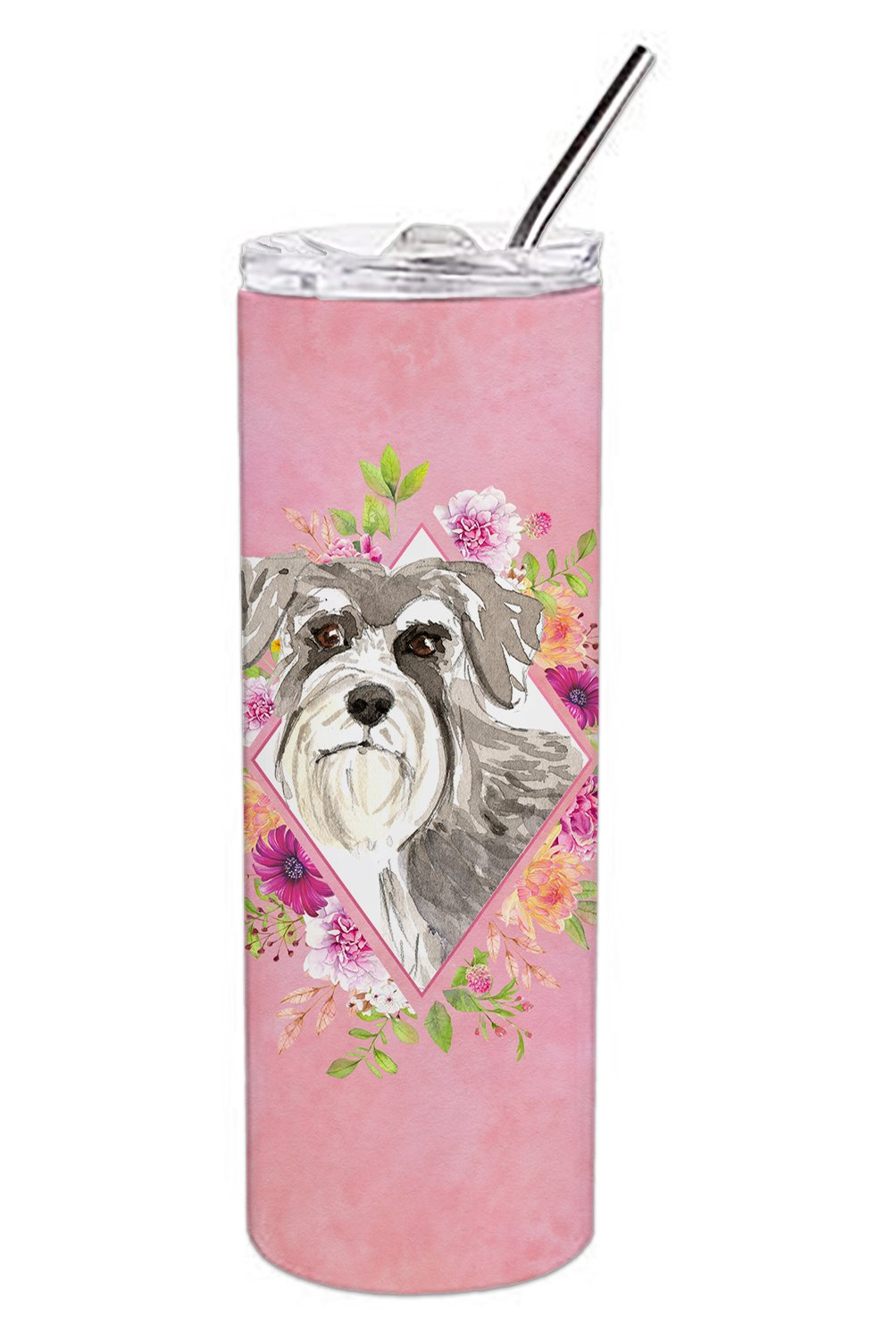 Buy this Schnauzer #1 Pink Flowers Double Walled Stainless Steel 20 oz Skinny Tumbler CK4215TBL20