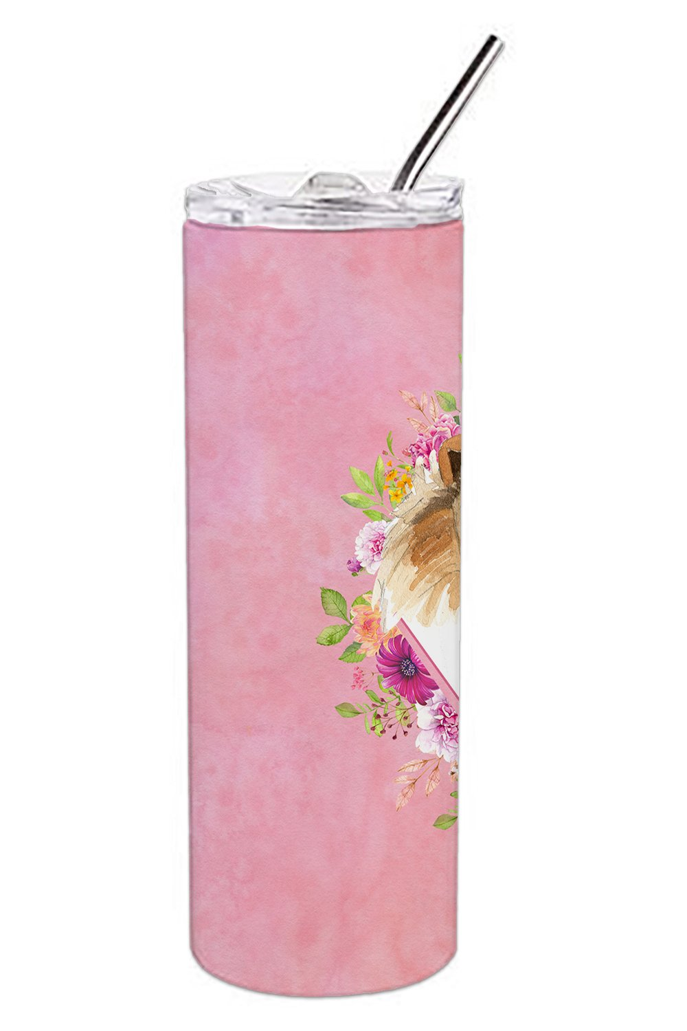 Collie Pink Flowers Double Walled Stainless Steel 20 oz Skinny Tumbler CK4216TBL20 by Caroline's Treasures