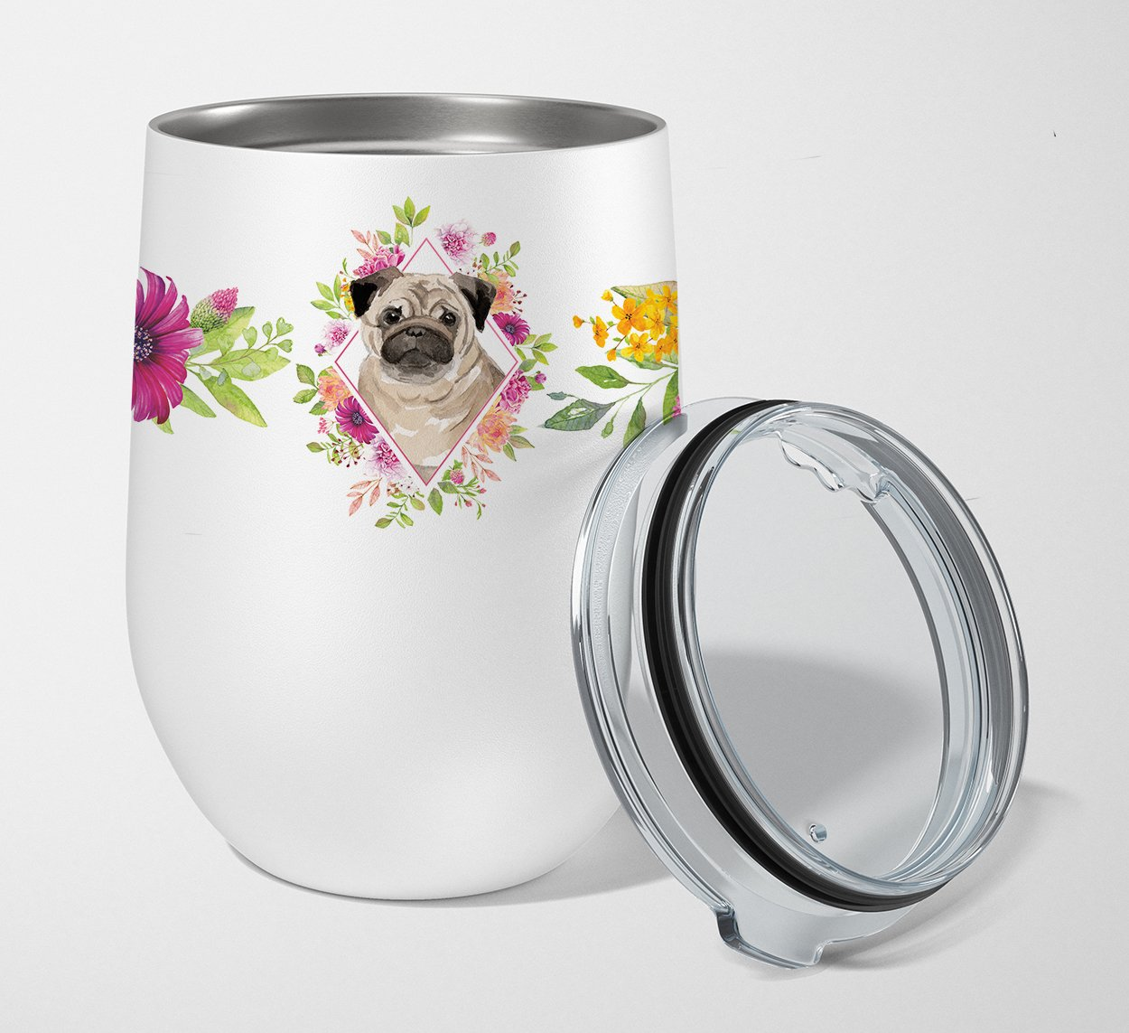Buy this Fawn Pug Pink Flowers Stainless Steel 12 oz Stemless Wine Glass CK4218TBL12