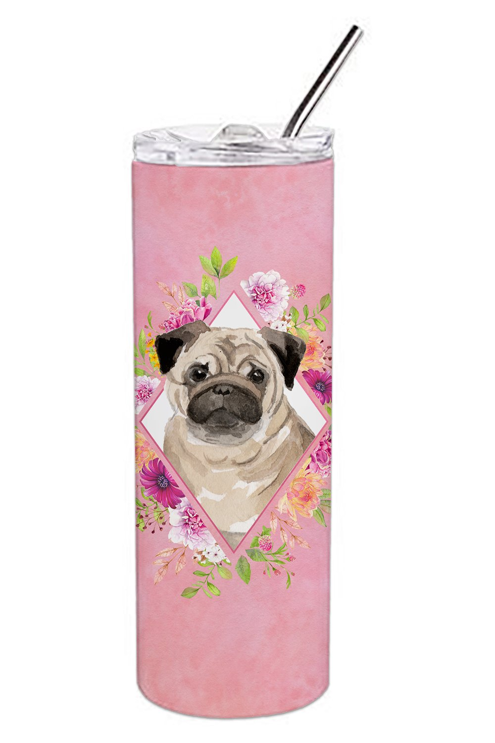 Buy this Fawn Pug Pink Flowers Double Walled Stainless Steel 20 oz Skinny Tumbler CK4218TBL20
