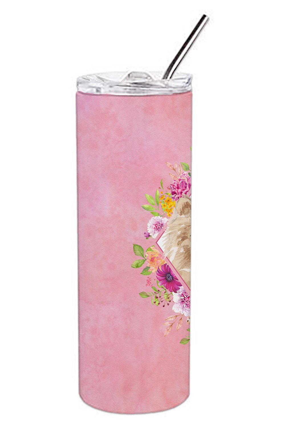 Pomeranian Pink Flowers Double Walled Stainless Steel 20 oz Skinny Tumbler CK4219TBL20 by Caroline's Treasures
