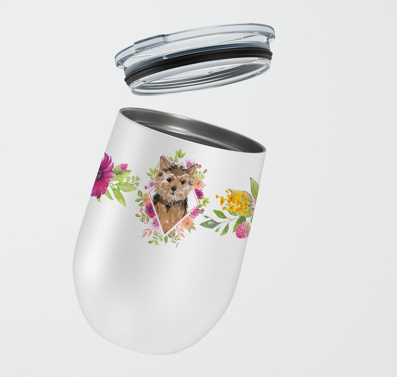 Buy this Norwich Terrier Pink Flowers Stainless Steel 12 oz Stemless Wine Glass CK4220TBL12