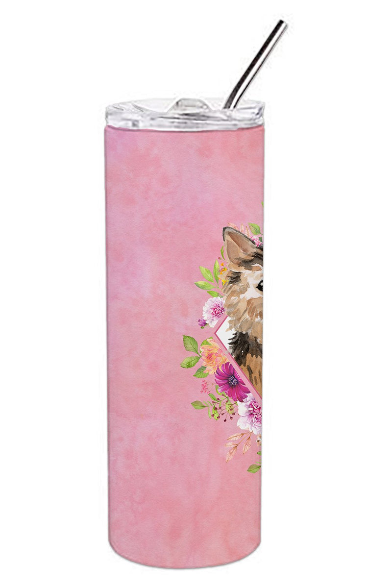 Buy this Norwich Terrier Pink Flowers Double Walled Stainless Steel 20 oz Skinny Tumbler CK4220TBL20