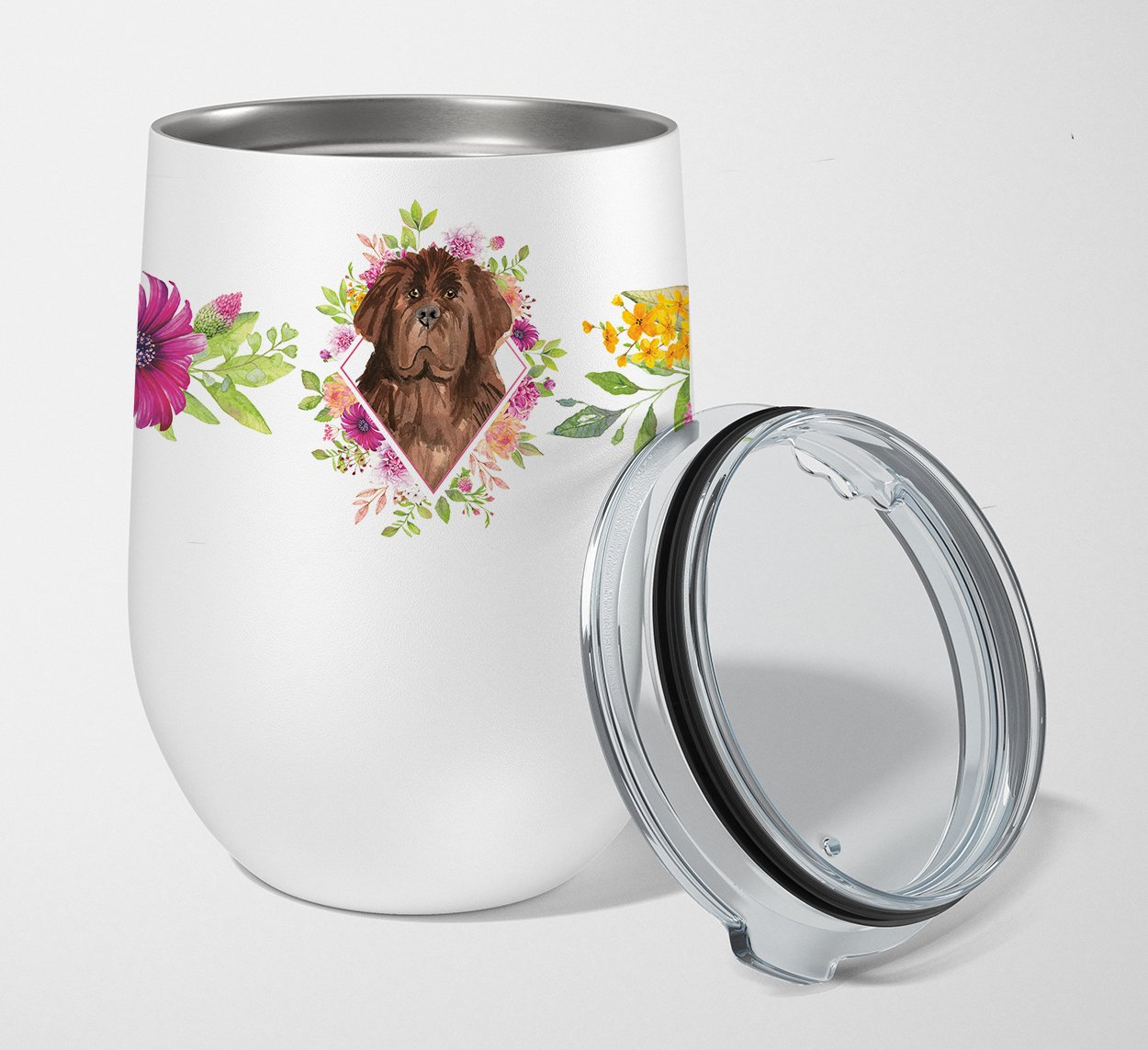 Buy this Newfoundland Pink Flowers Stainless Steel 12 oz Stemless Wine Glass CK4221TBL12