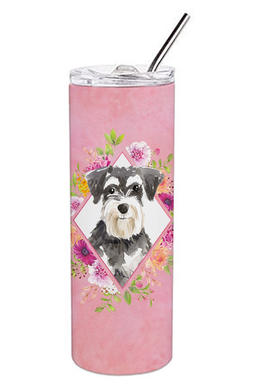 Buy this Schnauzer #2 Pink Flowers Double Walled Stainless Steel 20 oz Skinny Tumbler CK4222TBL20
