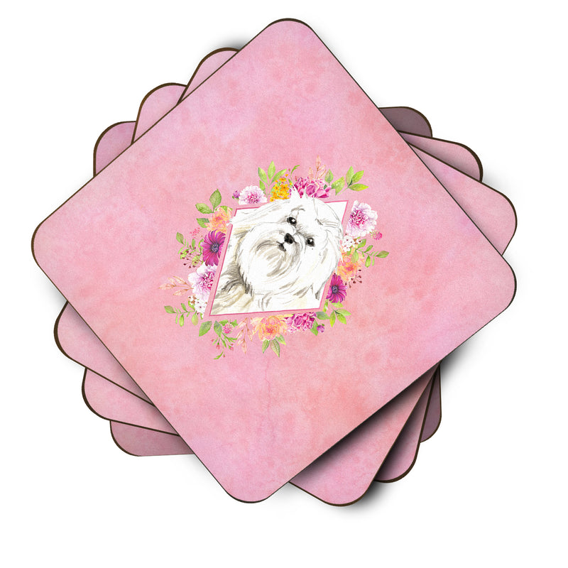 Buy this Set of 4 Maltese Pink Flowers Foam Coasters Set of 4 CK4223FC