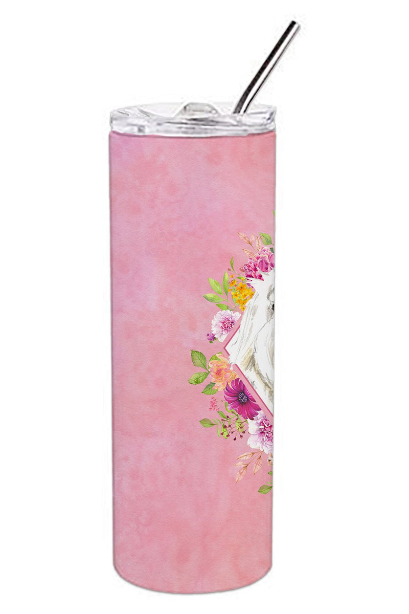 Buy this Maltese Pink Flowers Double Walled Stainless Steel 20 oz Skinny Tumbler CK4223TBL20