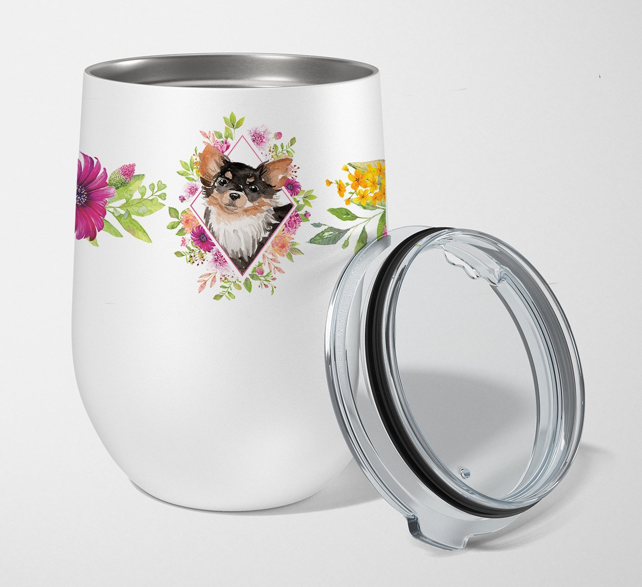 Buy this Longhaired Chihuahua Pink Flowers Stainless Steel 12 oz Stemless Wine Glass CK4225TBL12