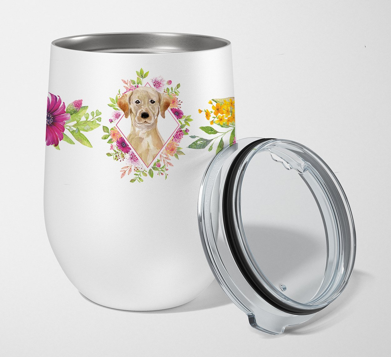 Buy this Yellow Lab Pink Flowers Stainless Steel 12 oz Stemless Wine Glass CK4227TBL12