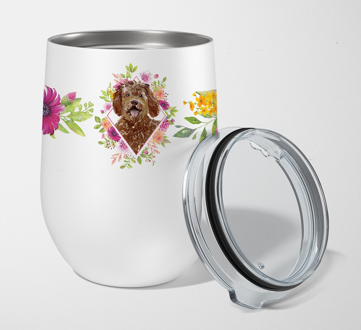 Labradoodle Pink Flowers Stainless Steel 12 oz Stemless Wine Glass CK4228TBL12 by Caroline's Treasures