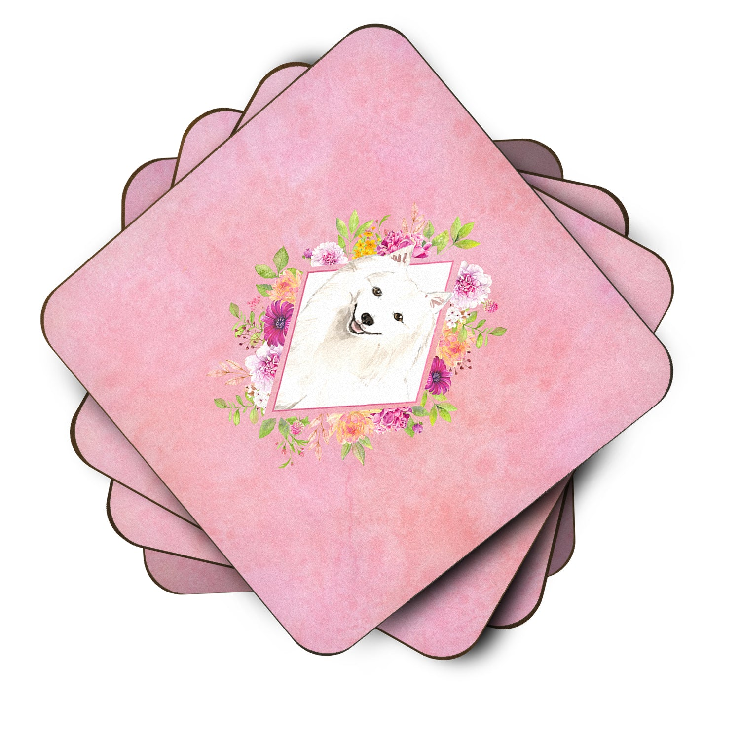 Set of 4 Japanese Spitz Pink Flowers Foam Coasters Set of 4 CK4229FC by Caroline's Treasures