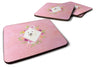 Buy this Set of 4 Japanese Spitz Pink Flowers Foam Coasters Set of 4 CK4229FC