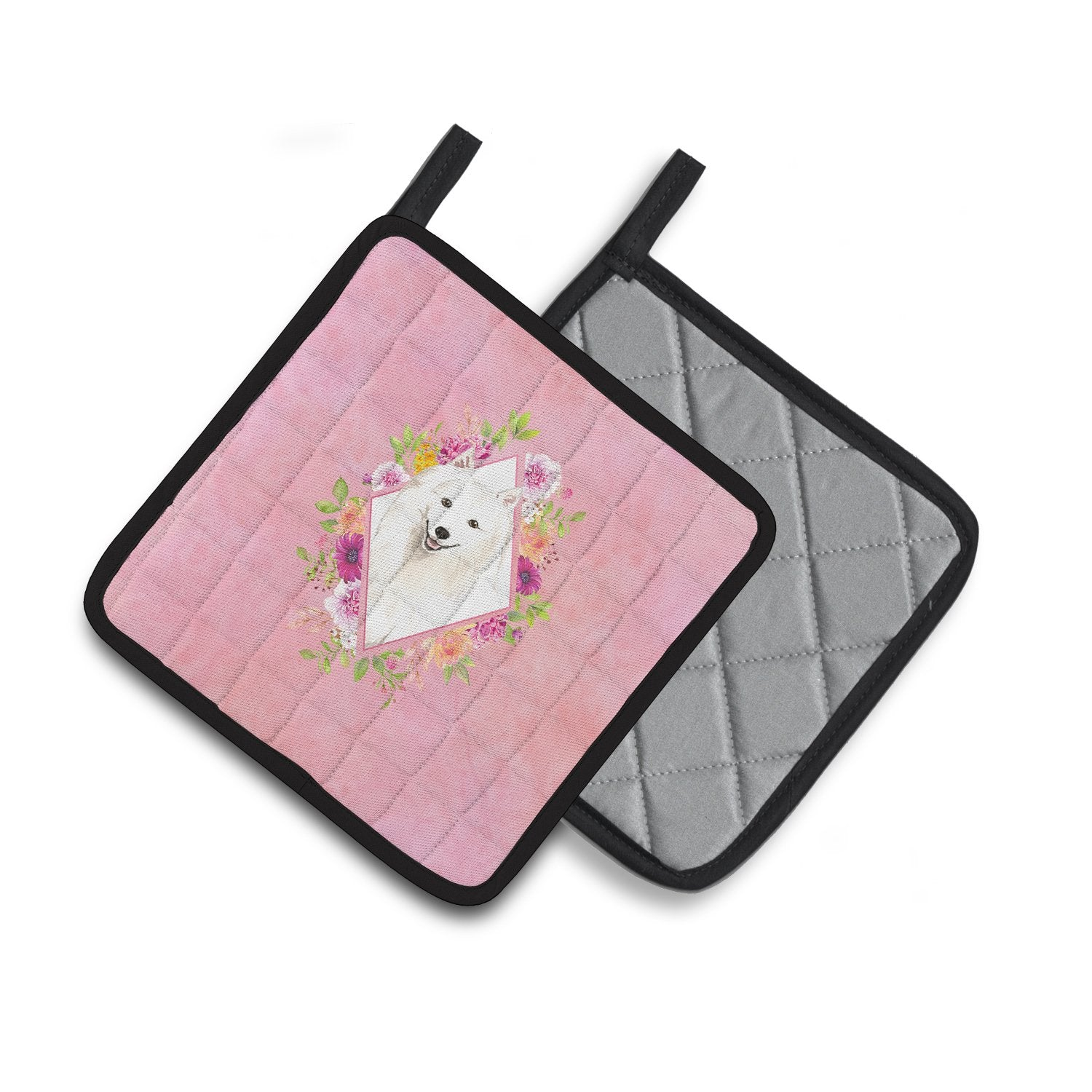 Buy this Japanese Spitz Pink Flowers Pair of Pot Holders CK4229PTHD