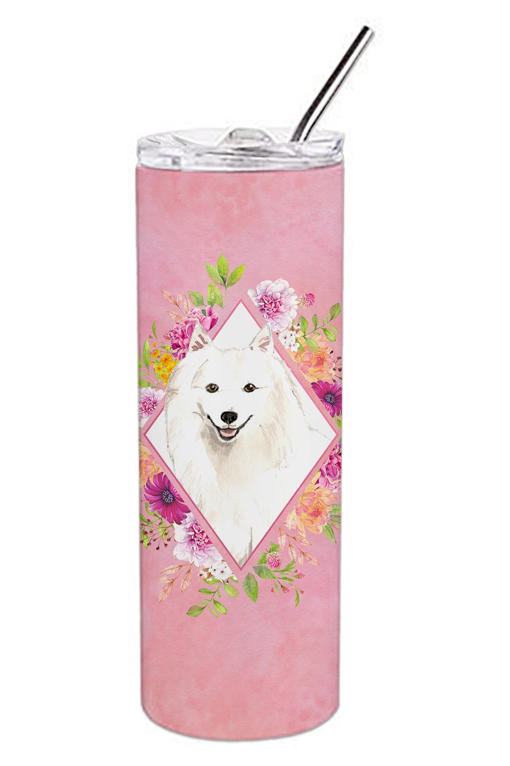 Japanese Spitz Pink Flowers Double Walled Stainless Steel 20 oz Skinny Tumbler CK4229TBL20 by Caroline's Treasures