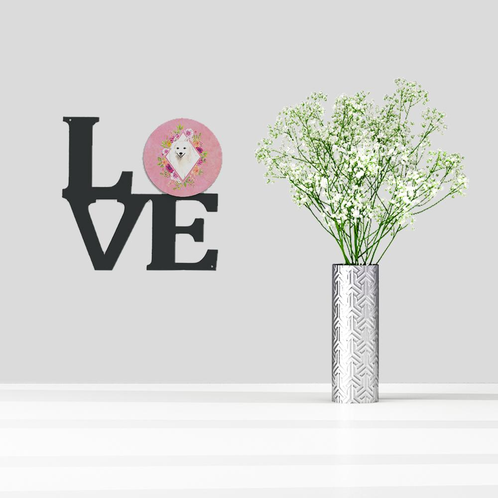 Japanese Spitz Pink Flowers Metal Wall Artwork LOVE CK4229WALV by Caroline's Treasures