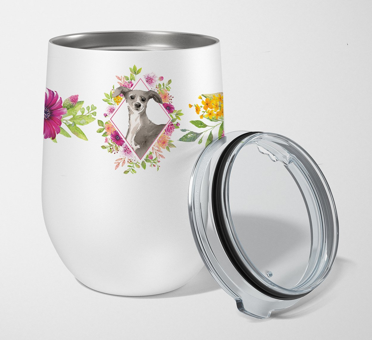 Buy this Italian Greyhound Pink Flowers Stainless Steel 12 oz Stemless Wine Glass CK4230TBL12