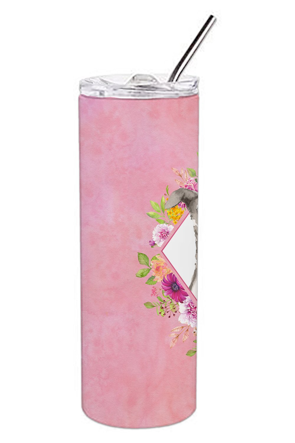 Italian Greyhound Pink Flowers Double Walled Stainless Steel 20 oz Skinny Tumbler CK4230TBL20 by Caroline's Treasures