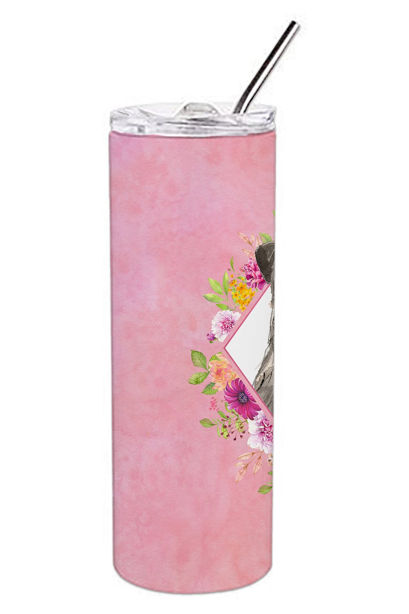Buy this Irish Wolfhound Pink Flowers Double Walled Stainless Steel 20 oz Skinny Tumbler CK4231TBL20