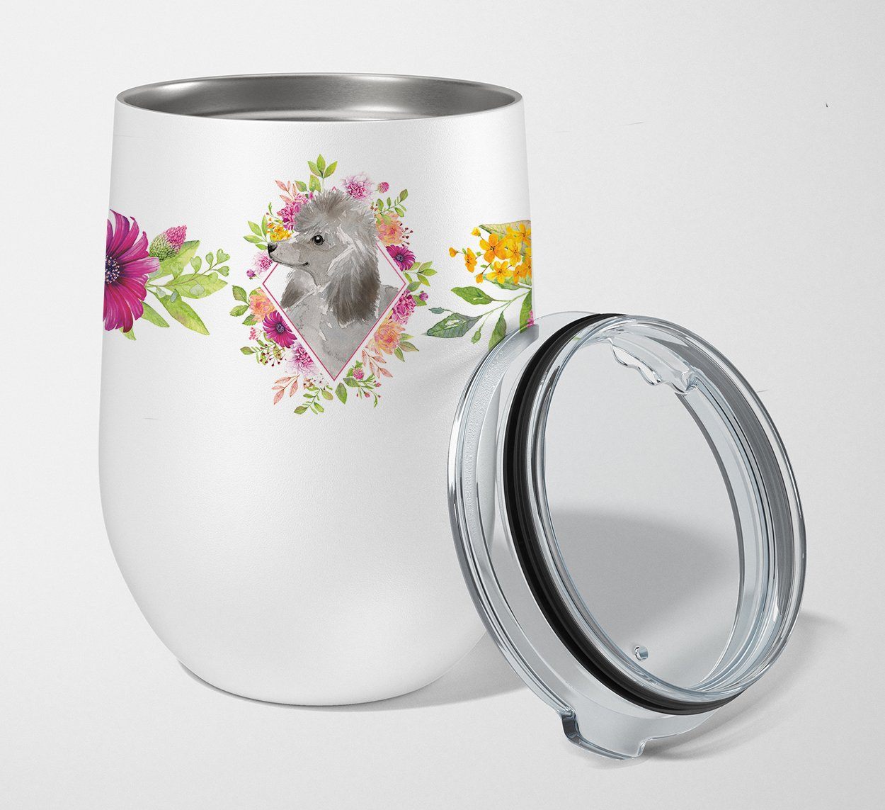 Buy this Grey Standard Poodle Pink Flowers Stainless Steel 12 oz Stemless Wine Glass CK4233TBL12