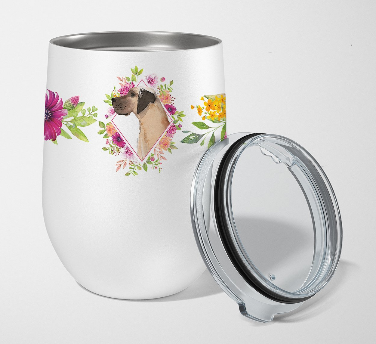 Buy this Fawn Great Dane Pink Flowers Stainless Steel 12 oz Stemless Wine Glass CK4234TBL12