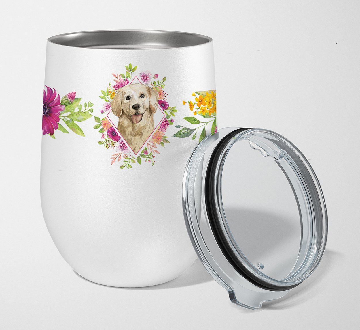 Buy this Golden Retriever Pink Flowers Stainless Steel 12 oz Stemless Wine Glass CK4235TBL12