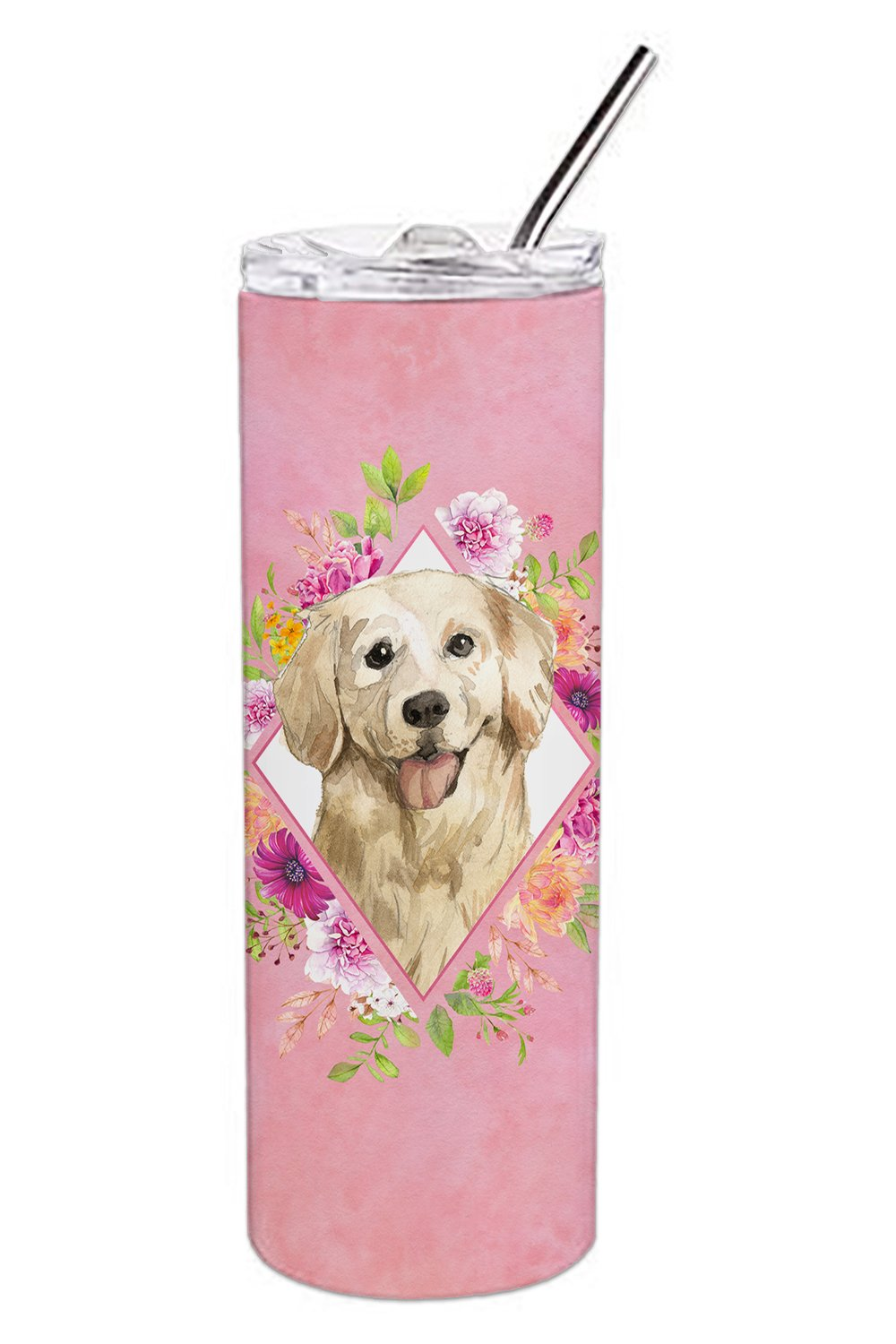 Buy this Golden Retriever Pink Flowers Double Walled Stainless Steel 20 oz Skinny Tumbler CK4235TBL20