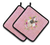 Buy this Fawn French Bulldog Pink Flowers Pair of Pot Holders CK4238PTHD