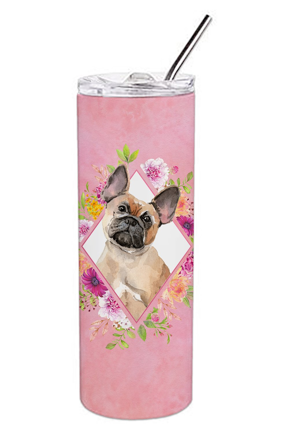 Buy this Fawn French Bulldog Pink Flowers Double Walled Stainless Steel 20 oz Skinny Tumbler CK4238TBL20
