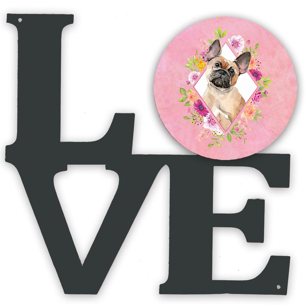 Fawn French Bulldog Pink Flowers Metal Wall Artwork LOVE CK4238WALV by Caroline's Treasures