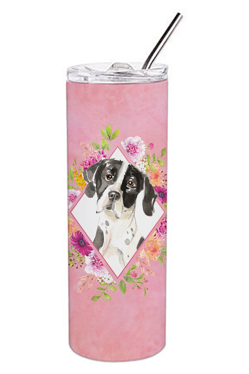 Buy this English Pointer Pink Flowers Double Walled Stainless Steel 20 oz Skinny Tumbler CK4239TBL20