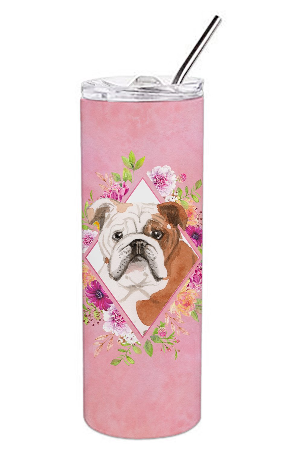 English Bulldog Pink Flowers Double Walled Stainless Steel 20 oz Skinny Tumbler CK4240TBL20 by Caroline's Treasures