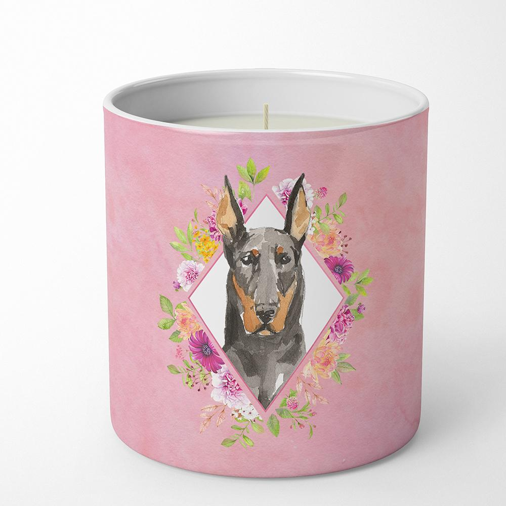 Doberman Pinsher Pink Flowers 10 oz Decorative Soy Candle CK4241CDL by Caroline's Treasures