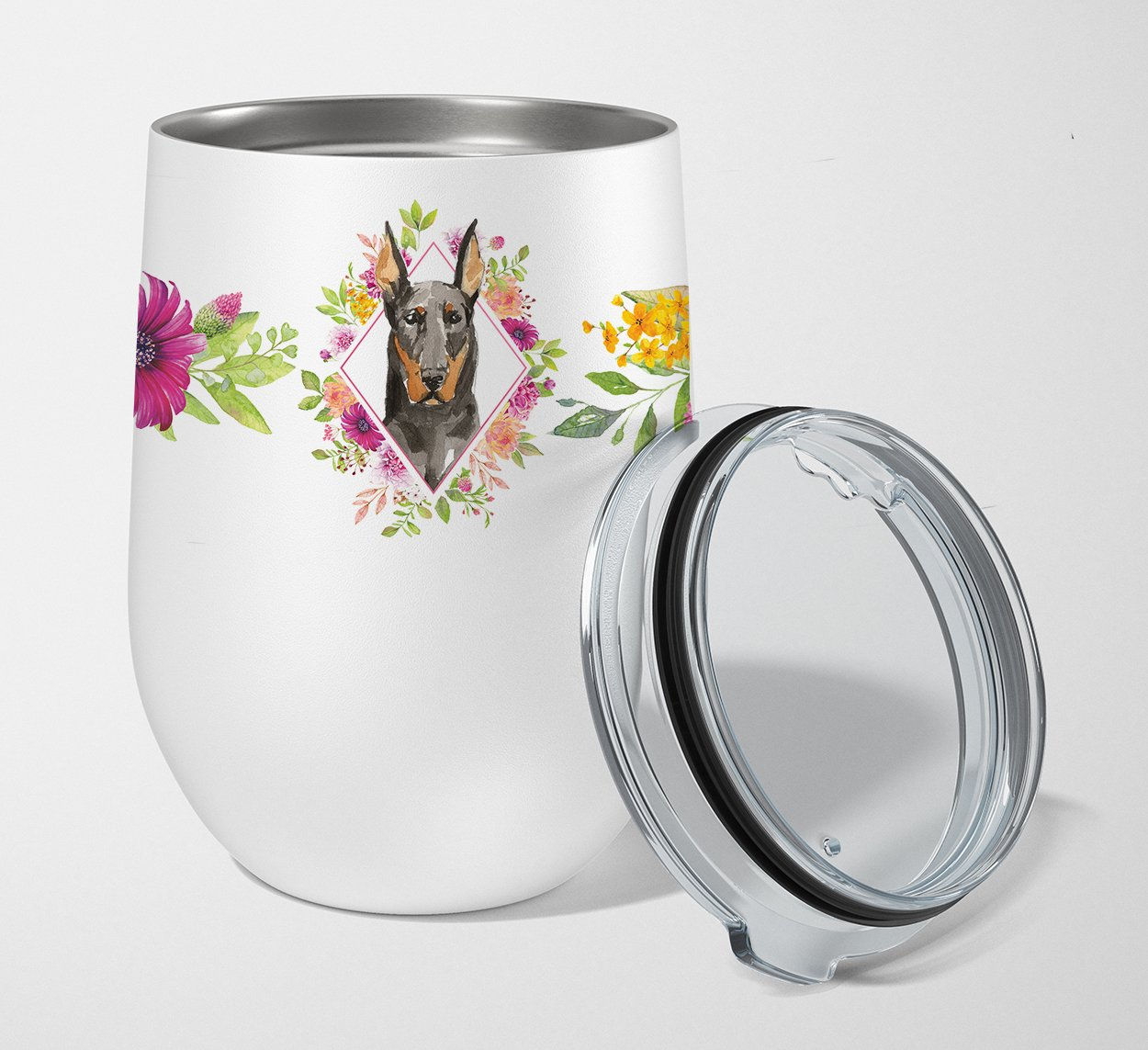 Buy this Doberman Pinsher Pink Flowers Stainless Steel 12 oz Stemless Wine Glass CK4241TBL12