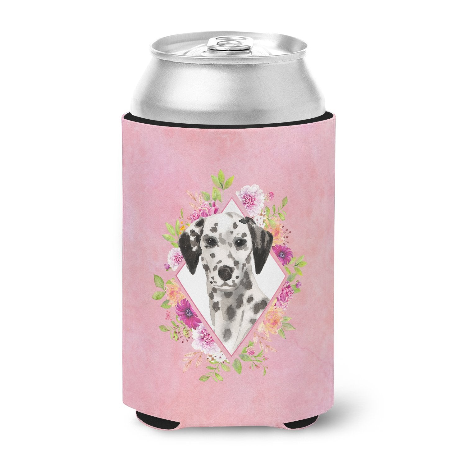 Dalmatian Pink Flowers Can or Bottle Hugger CK4242CC by Caroline's Treasures