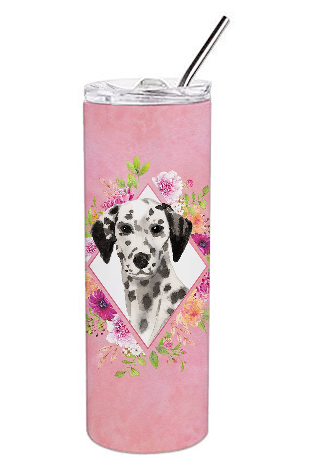 Dalmatian Pink Flowers Double Walled Stainless Steel 20 oz Skinny Tumbler CK4242TBL20 by Caroline's Treasures