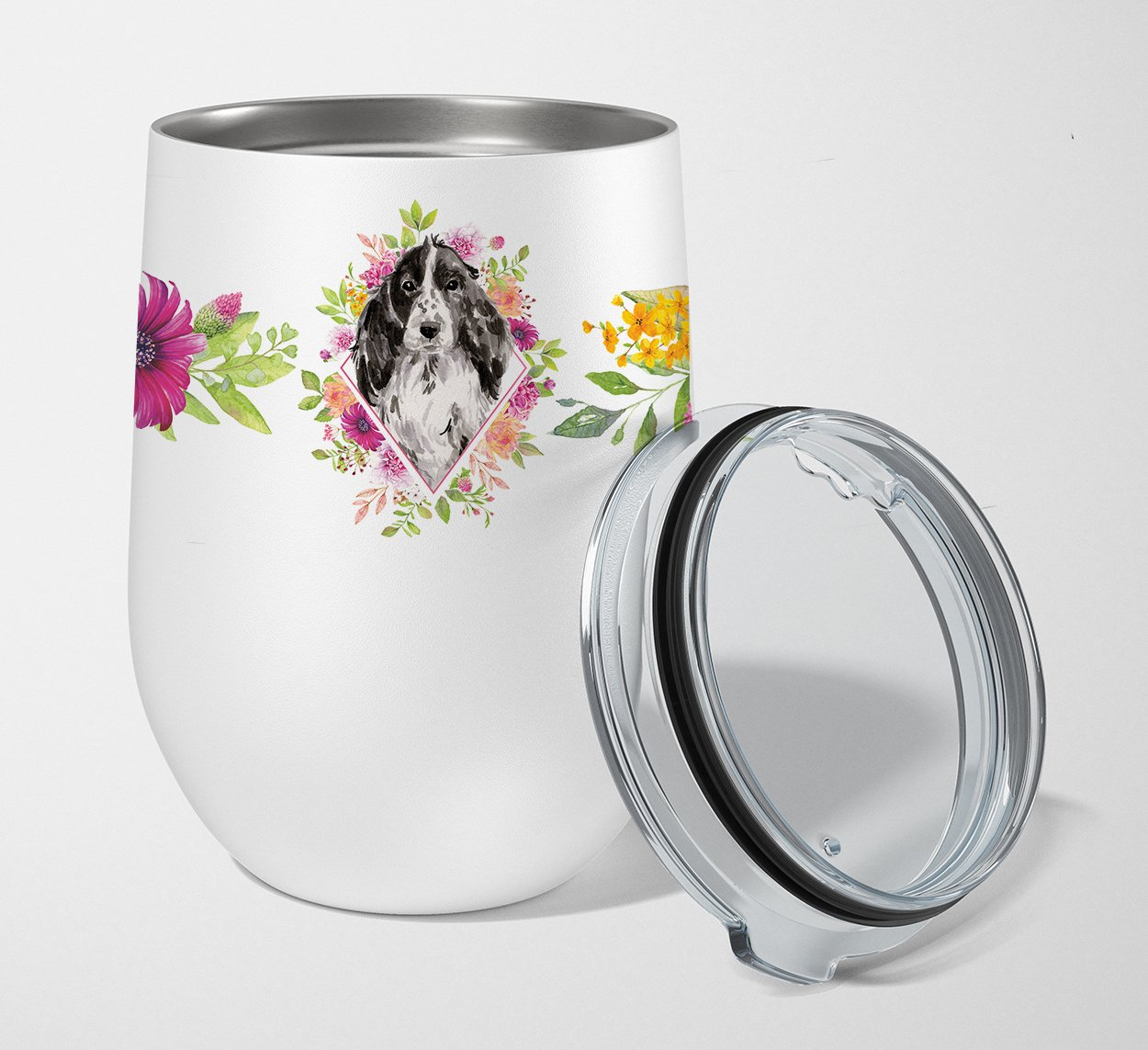 Buy this Black Parti Cocker Spaniel Pink Flowers Stainless Steel 12 oz Stemless Wine Glass CK4244TBL12