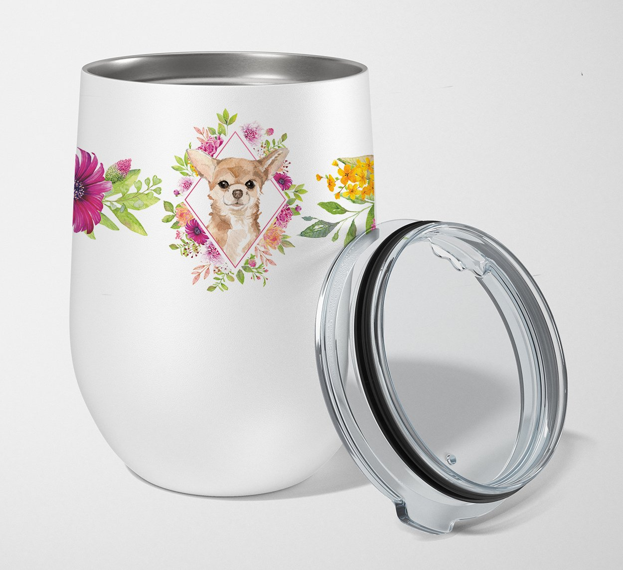 Buy this Chihuahua Pink Flowers Stainless Steel 12 oz Stemless Wine Glass CK4245TBL12