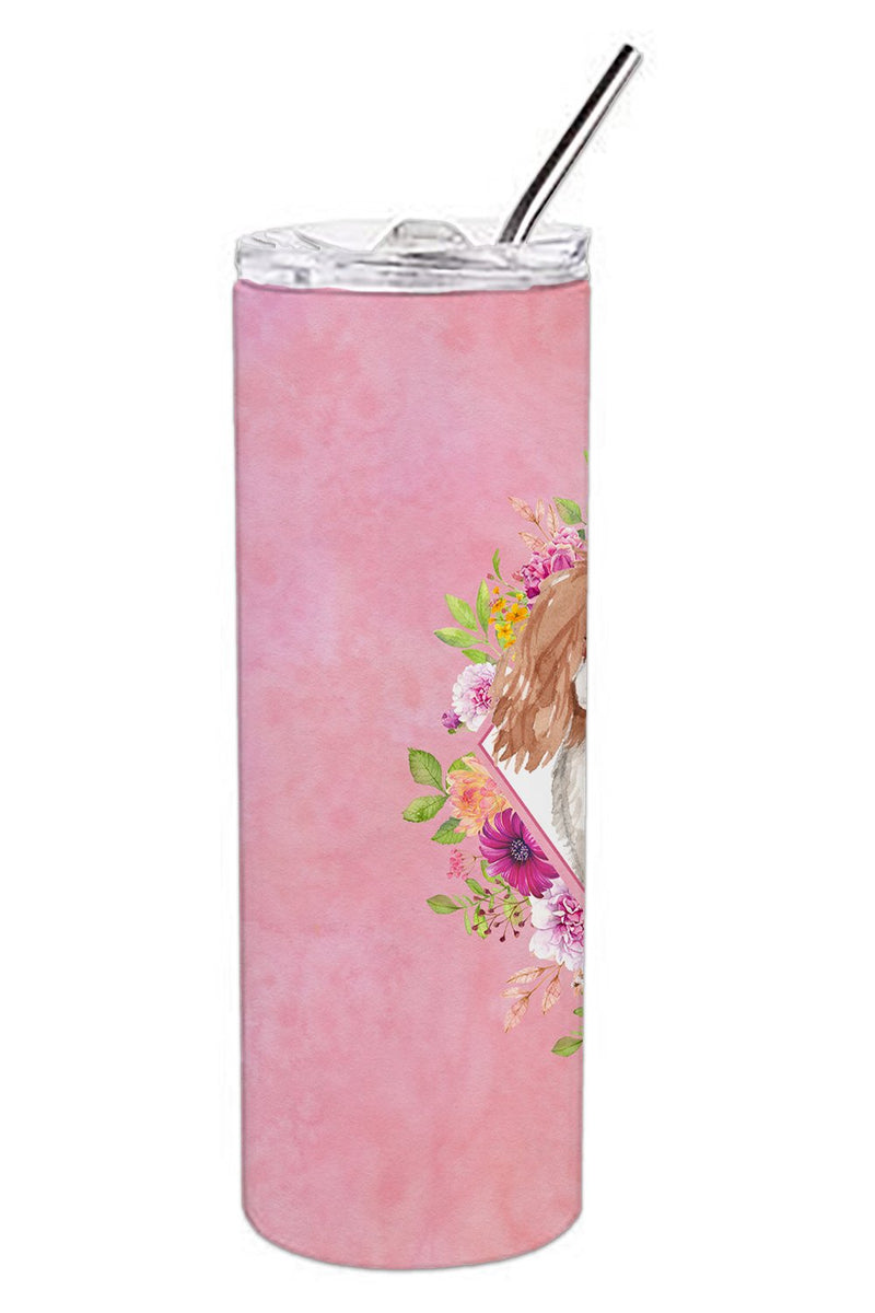Buy this Blenheim Cavalier Spaniel Pink Flowers Double Walled Stainless Steel 20 oz Skinny Tumbler CK4248TBL20