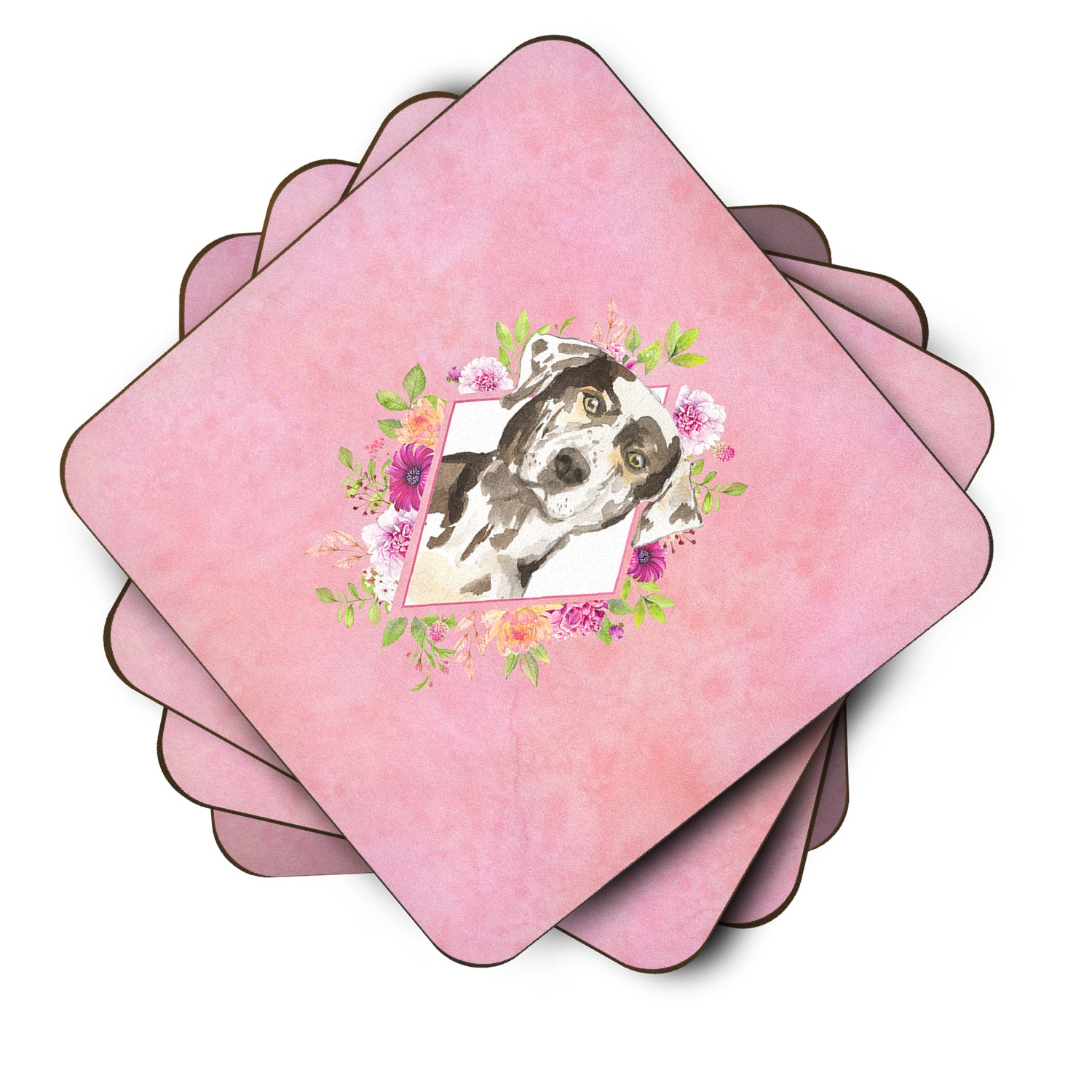 Buy this Set of 4 Catahoula Leopard Dog Pink Flowers Foam Coasters Set of 4 CK4249FC