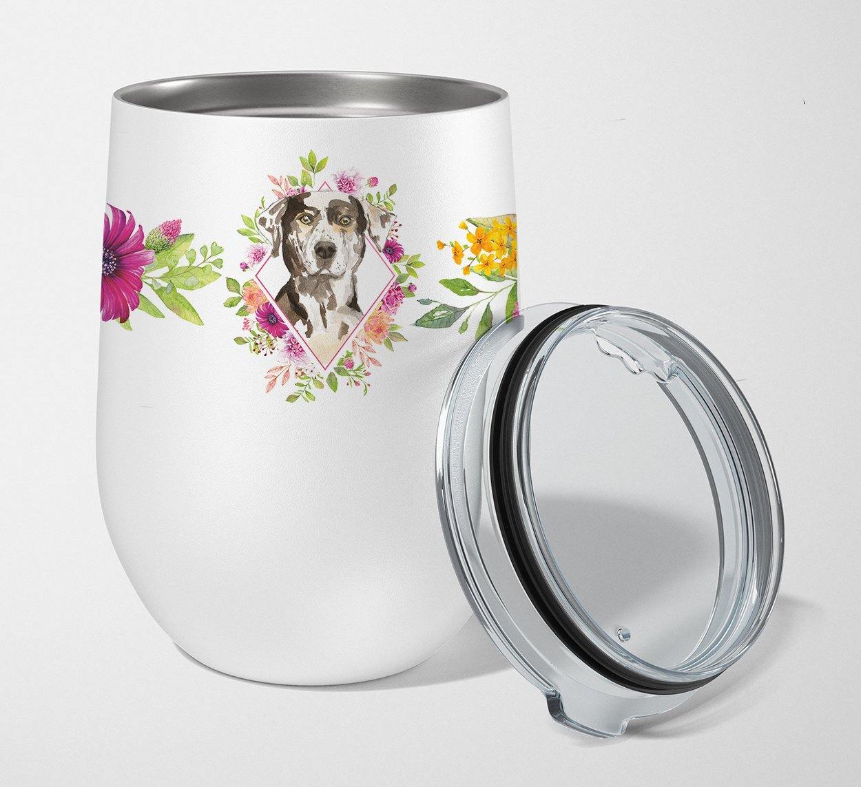 Buy this Catahoula Leopard Dog Pink Flowers Stainless Steel 12 oz Stemless Wine Glass CK4249TBL12
