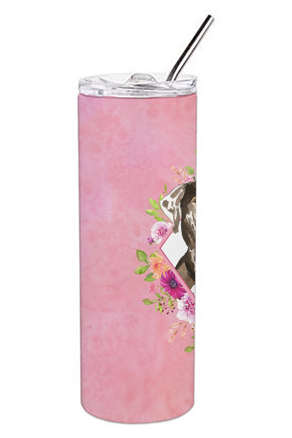 Catahoula Leopard Dog Pink Flowers Double Walled Stainless Steel 20 oz Skinny Tumbler CK4249TBL20 by Caroline's Treasures