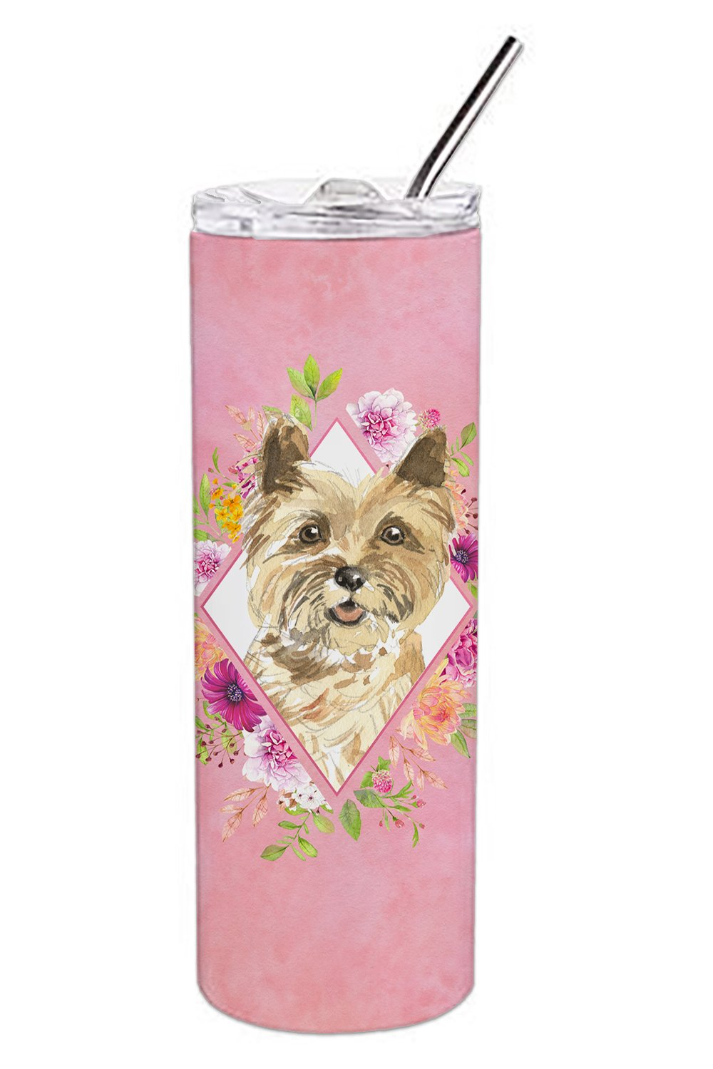 Buy this Cairn Terrier Pink Flowers Double Walled Stainless Steel 20 oz Skinny Tumbler CK4250TBL20