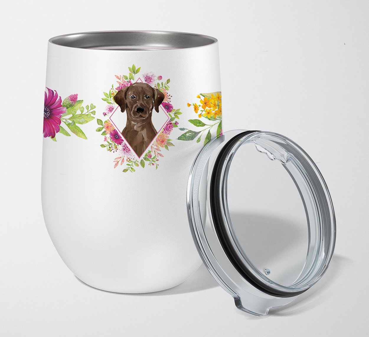 Buy this Chocolate Labrador Pink Flowers Stainless Steel 12 oz Stemless Wine Glass CK4251TBL12
