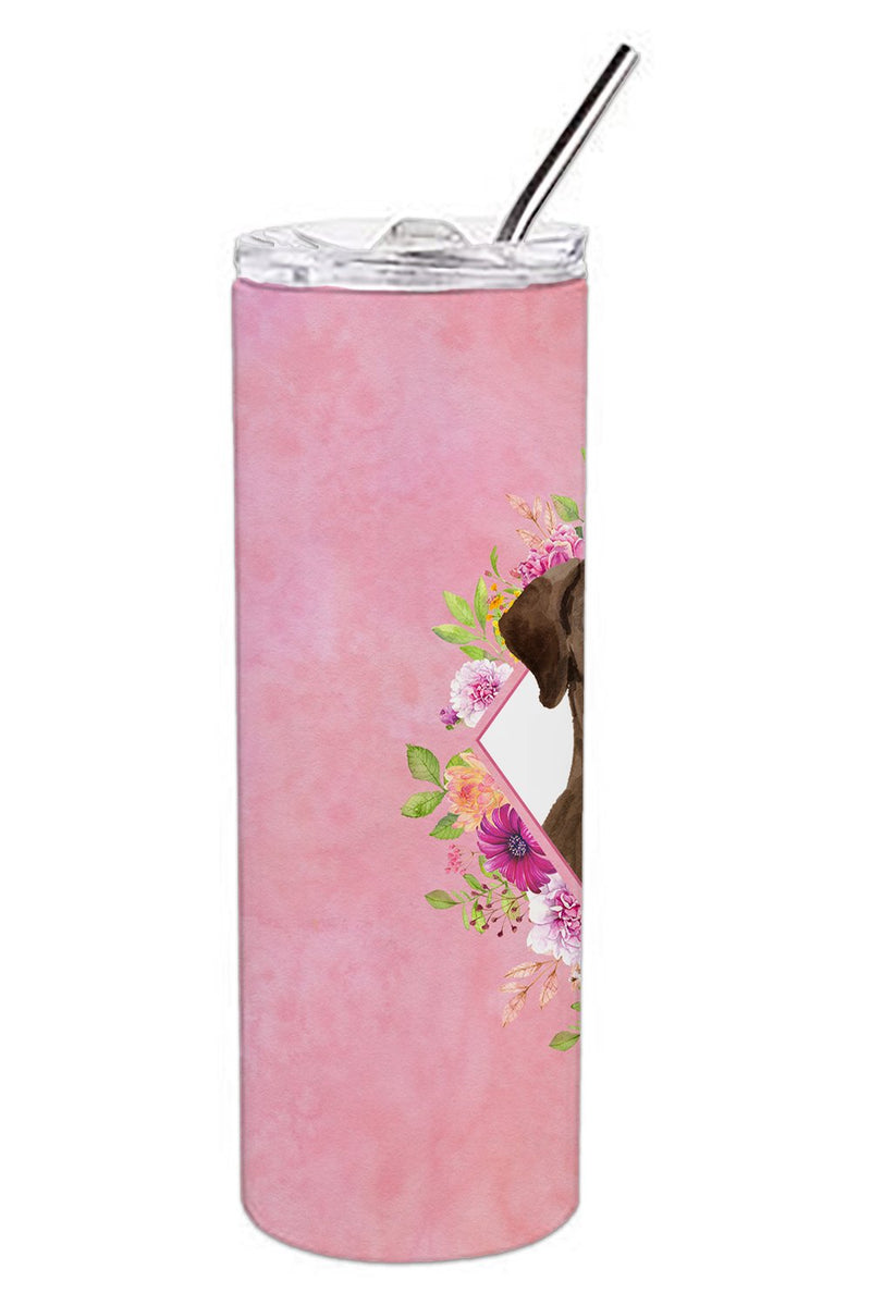 Buy this Chocolate Labrador Pink Flowers Double Walled Stainless Steel 20 oz Skinny Tumbler CK4251TBL20