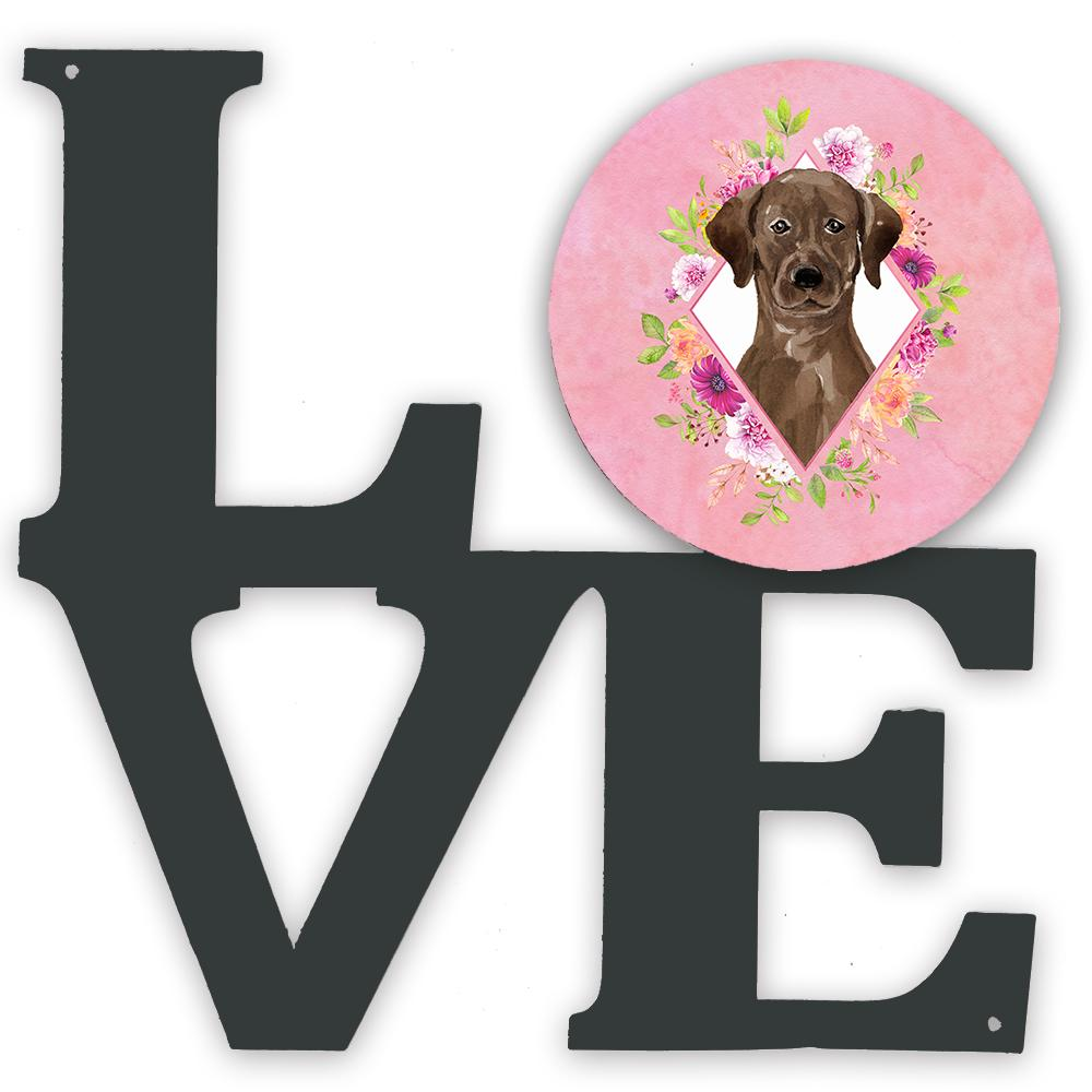 Buy this Chocolate Labrador Pink Flowers Metal Wall Artwork LOVE CK4251WALV