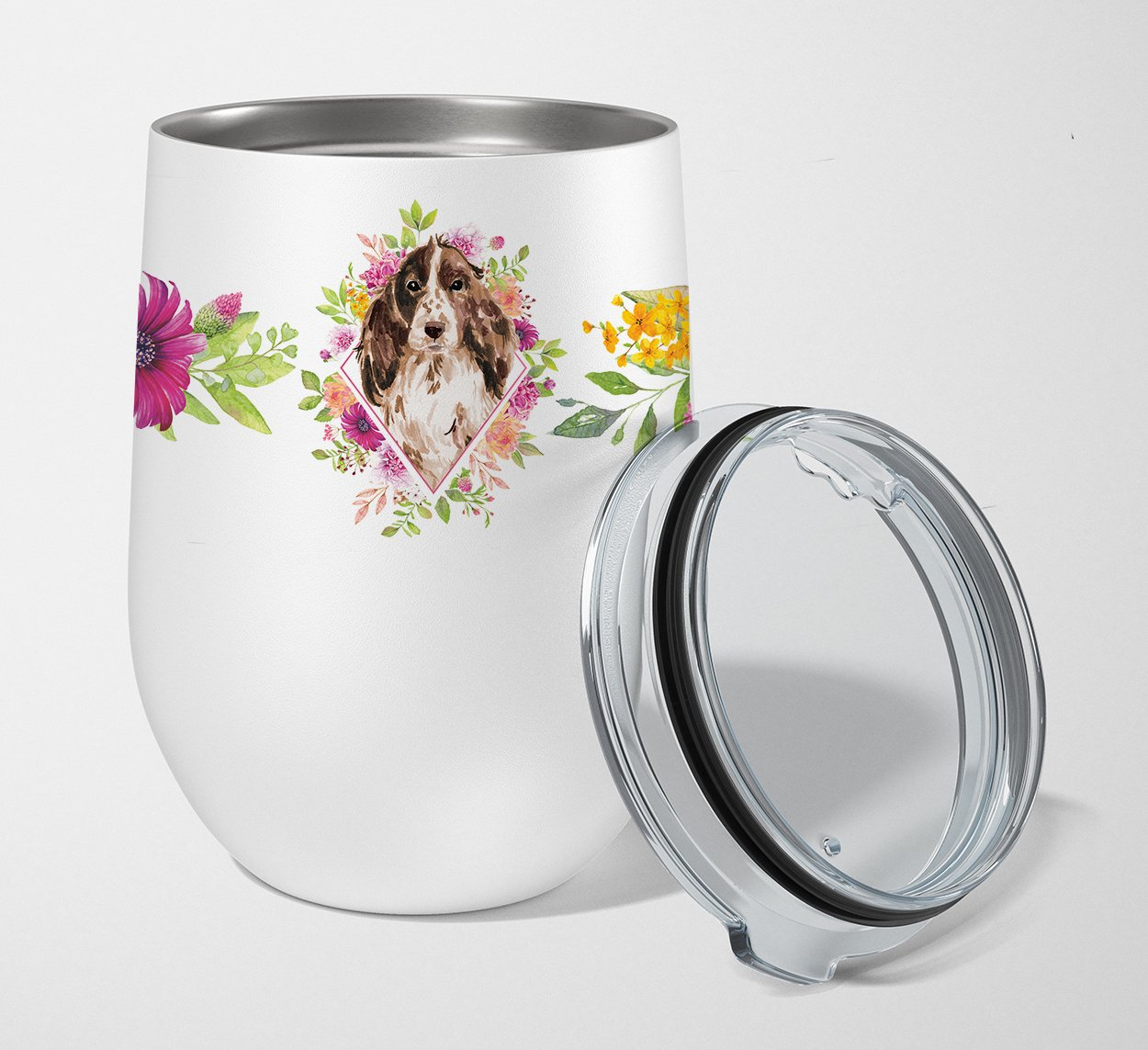 Buy this Brown Parti Cocker Spaniel Pink Flowers Stainless Steel 12 oz Stemless Wine Glass CK4252TBL12